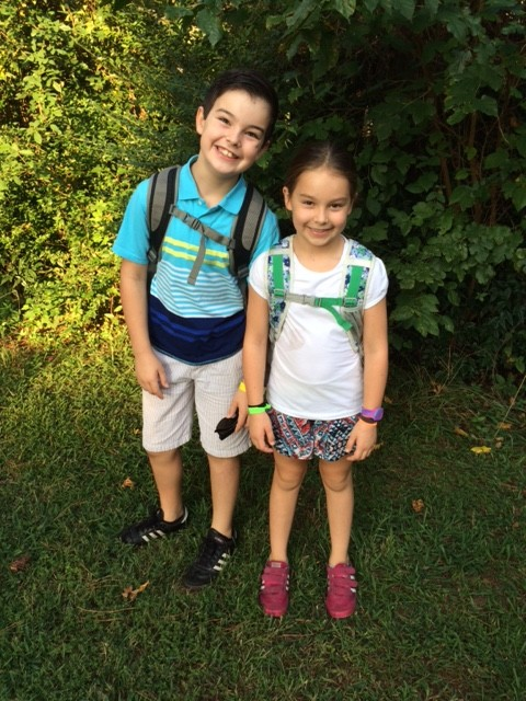 Carter Hinds, age 10, and Louisa Hinds, age 7 on their first day of school in Raleigh, N.C. Photo courtesy of Mary Catherine Hinds