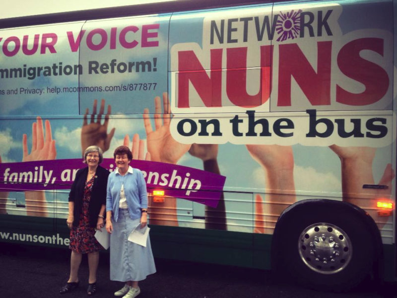 Sister Simone Campbell and Sister Mary Ellen during the 2013 Nuns on the Bus tour. Photo courtesy of NETWORK