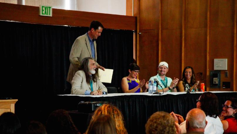 Rock Waterman, John Dehlin (standing), Kate Kelly, Carson Calderwood, and Marisa Calderwood at the Salt Lake City Sunstone Symposium. Photo courtesy of Stefanie Carson-Nickolaisen, www.stefnick.com.