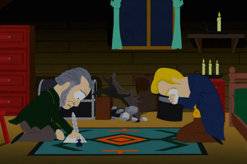 """Joseph Smith translates the Book of Mormon using a hat in a 2003 """"South Park"""" episode."""