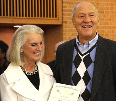 Anne Graham Lotz with her husband Danny Lotz at a public event in North Carolina. Photo courtesy of the Durham Herald-Sun