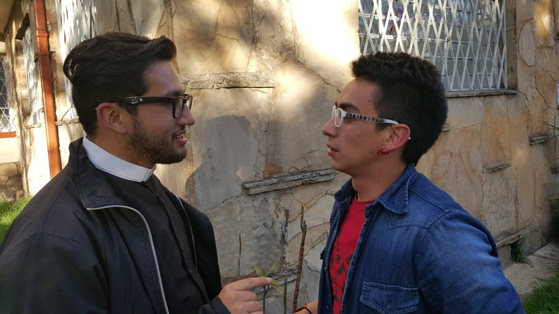 The Rev. Iván Darío Gutiérrez, left, and Camilo Moreno at one of Bogota's gay community centers. Photo courtesy of Chris Herlinger