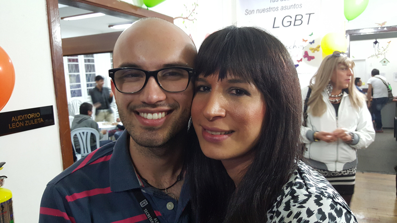 Jaime Ricardo Cadavid, the coordinator of one of Bogota's gay community centers, left, with Azahy Ali Triana de la Peña, a transgender woman. Photo courtesy of Chris Herlinger