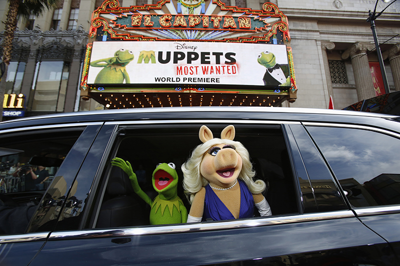 "The characters of Kermit and Miss Piggy arrive at the premiere of ""Muppets Most Wanted"" at El Capitan theatre in Hollywood, California on March 11, 2014. Photo courtesy of REUTERS/Mario Anzuoni *Editors: This photo may only be republished with RNS-DIVORCE-SIN, originally transmitted on August 12, 2015."
