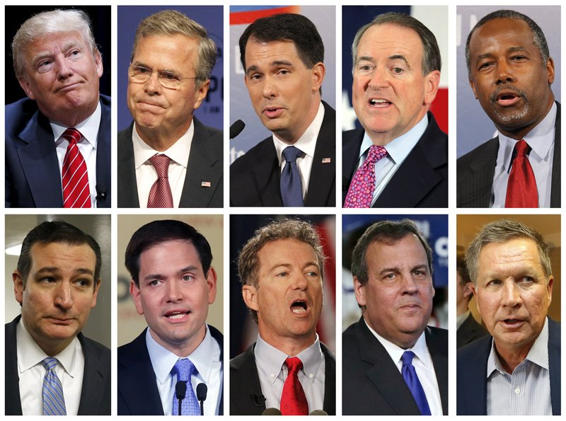 Republican presidential candidates (top row L-R) Donald Trump, Jeb Bush, Scott Walker, Mike Huckabee, Ben Carson, (bottow row L-R) Ted Cruz, Marco Rubio, Rand Paul, Chris Christie and John Kasich are seen in a combo of recent file photos. The head of the Republican Party on Wednesday said its presidential candidates are unlikely to attack each other in the party's first official debate but instead are focused on ousting Democrats from the White House. Seventeen Republicans, led by billionaire Donald Trump, who has taunted fellow contenders, are seeking the conservative party's presidential nomination. Only 10 will be on stage Thursday night in the first prime-time debate, which could offer a boost in exposure to voters and a chance to break out of the pack. Photo courtesy of REUTERS/files *Editors: This photo may only be republished with RNS-POLITICS-FAITH, originally transmitted on August 5, 2015.