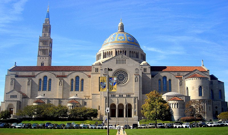 The Basilica of the National Shrine of the Immaculate Conception located on The Catholic University of America campus in Washington, D.C. Photo courtesy of AgnosticPreachersKid via Wikimedia Commons