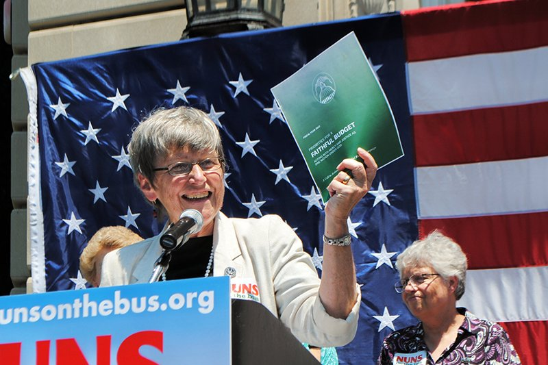 "Sister Simone Campbell speaks during 2012 ""Nuns on the Bus"" tour. Photo courtesy of Network"