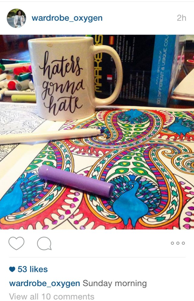 "Alison Gary of Greenbelt, Md., colors on Sunday mornings with her daughter, Emerson, 6. She posted this photo recently on Instagram. Gary says she has been coloring for over a year, and finds it 'a meditative way to calm my mind, refocus and get centered."" Photo courtesy of Alison Gary"