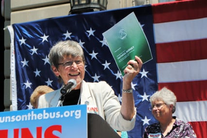 Sister Simone Campbell speaks during 2012 Nuns on the Bus tour. Photo courtesy of NETWORK