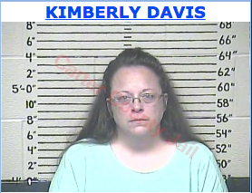 Kimberly Davis, the Rowan County, Ky., clerk, is in the Carter County Detention Center in Kentucky being held in contempt of court for refusing to issue marriage licenses. She halted all licensing because she has a religious objection to signing licenses for same-sex couples. Mug shot photo from the public records of the Carter County Detention Center.