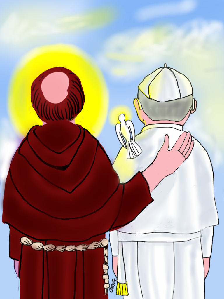 "A drawing of St. Francis with Pope Francis from the book ""Dear Young People…"" by Michael O'Neill McGrath. Photo courtesy of Michael O'Neill McGrath"
