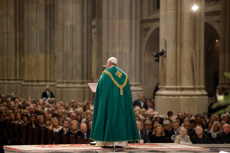 Pope Francis shares a reflection during evening prayer service at St. Patrick's Cathedral in New York, September 24, 2015. Pope Francis is on a five-day trip to the USA, which includes stops in Washington DC, New York and Philadelphia, after a three-day stay in Cuba. Photo courtesy REUTERS/Mary Altaffer