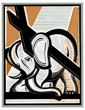 Linoleum cut by Stephen Alcorn