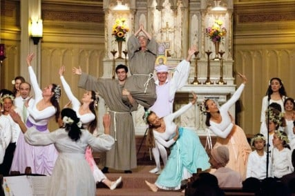 The program begins with a joyous musical play, Following Francis, with actors, dancers, and adult and children's choruses.