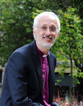 The Bishop of Manchester, the Right Rev. David Walker, outside Manchester Cathedral. Photo by Paul Heyes