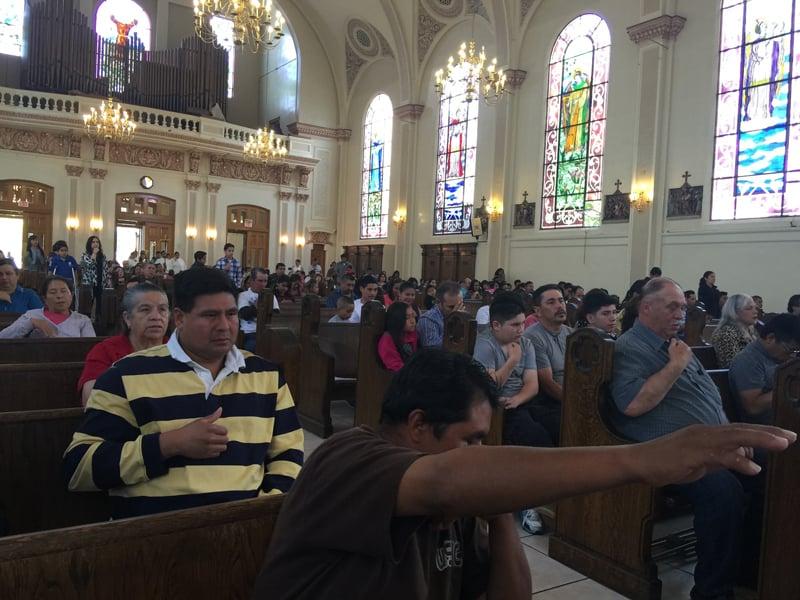 Saint Elizabeth Catholic Church in Oakland, Calif., has 15 Spanish-language Masses each week. Religion News Service photo by Kimberly Winston