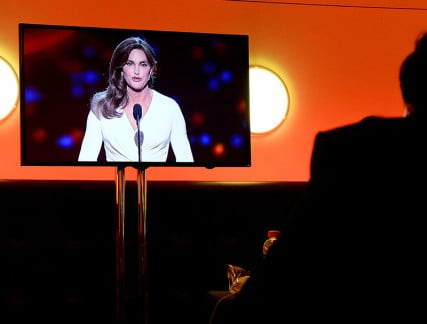 Caitlyn Jenner, recipient of the Arthur Ashe Courage Award, is seen on a TV set in the press room during the 2015 ESPY's award show at Nokia Theater in Los Angeles, California on July 15, 2015. Photo by Jayne Kamin-Oncea-USA TODAY Sports, courtesy of Reuters