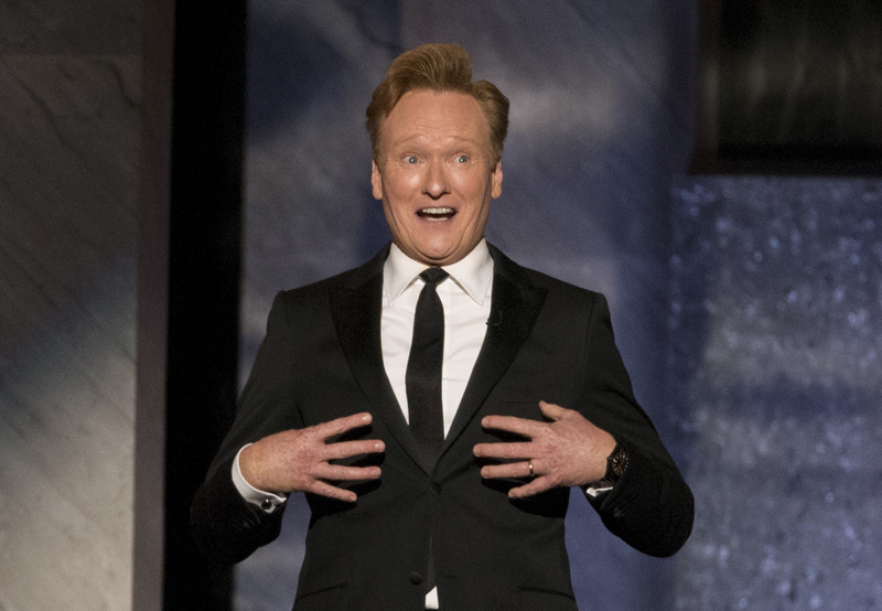 Comedian Conan O'Brien speaks at the American Film Institute's 43rd Life Achievement Award at the Dolby theatre in Hollywood, California on June 4, 2015. Photo courtesy of REUTERS/Mario Anzuoni *Editors: This photo may only be republished with RNS-JOKE-POPE, originally transmitted on Sept. 1, 2015.