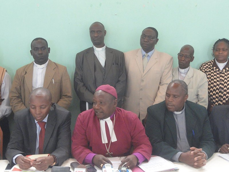Bishop Joseph Kagunda, center front, and clergy of the Mount Kenya West diocese during the a news conference that announced the suspension of the priests. Religion News Service photo by Fredrick Nzwili