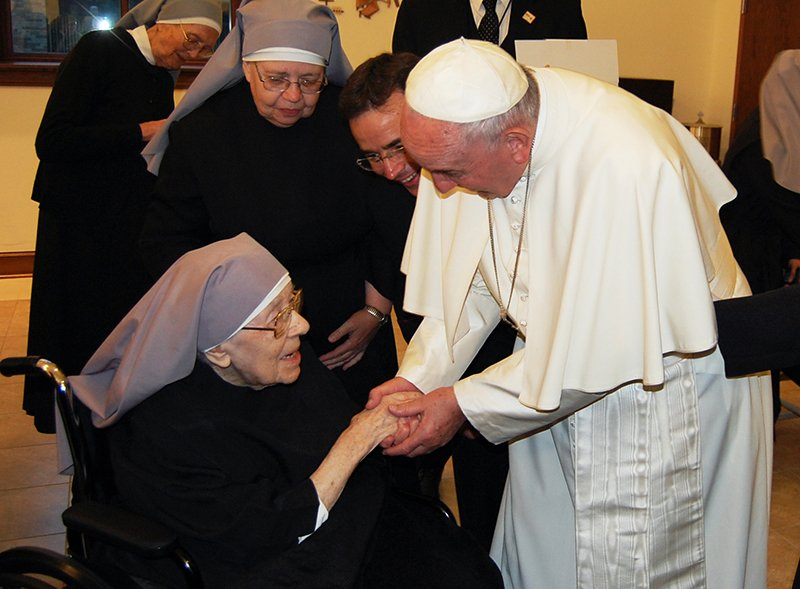 Pope Francis on Sept. 23, 2015 made an unscheduled stop to a convent of nuns to show his support for their lawsuit against President Barack Obama's health care law. Photo courtesy of The Becket Fund for Religious Liberty
