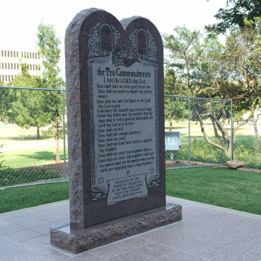 An Oklahoma commission voted Sept. 29, 2015 to remove a privately funded granite monument of the Ten Commandments from the state Capitol grounds, after a judge ordered its removal by Oct. 12. Religion News Service photo by Greg Horton