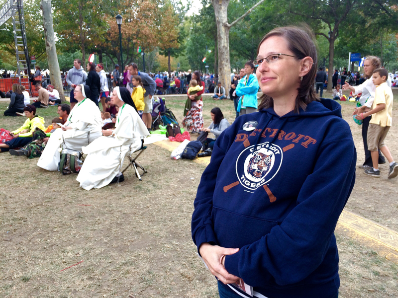 Whitney Crooks, 32, came from Ionia, Mich., with her husband to attend the outdoor Mass. Crooks is 35 weeks pregnant. Religion News Service photo by Madi Alexander