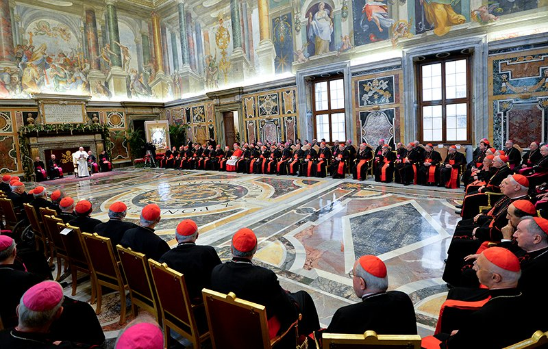 Pope Francis talks during an audience for Christmas greetings to the Curia in the Clementina hall at the Vatican on December 22, 2014. Photo courtesy of REUTERS/Andreas Solaro/Pool *Editors: This photo may only be republished with RNS-POPE-CURIA, originally transmitted on Sept. 15, 2015.