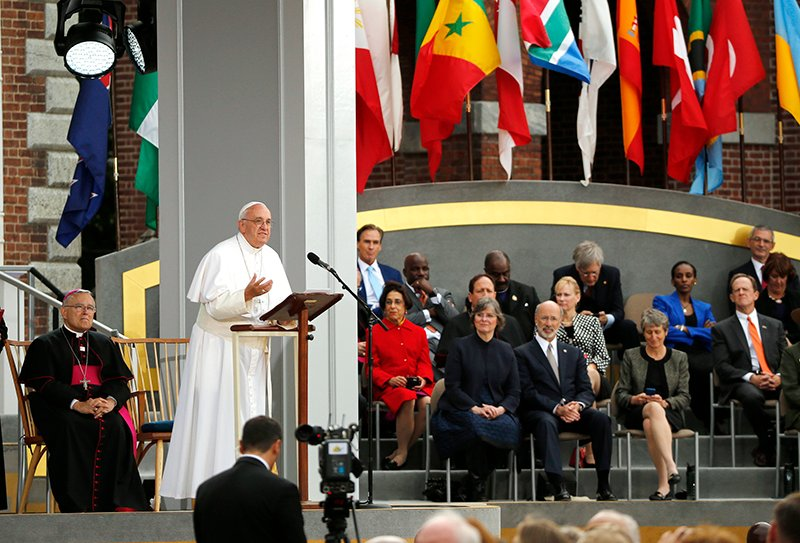 "Pope Francis speaks front of Independence Hall on the theme ""We Hold These Truths,"" a quote from the U.S. Declaration of Independence, in Philadelphia, on September 26 2015. Photo courtesy of REUTERS/Jim Bourg *Editors: This photo may only be republished with RNS-POPE-IMMIGRATION, originally transmitted on Sept. 26, 2015."