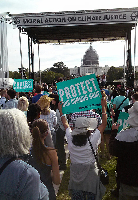 Climate-justice activists on the National Mall wave signs before Pope Francis' address to Congress on Sept. 24, 2015. Religion News Service photo by Adelle M. Banks