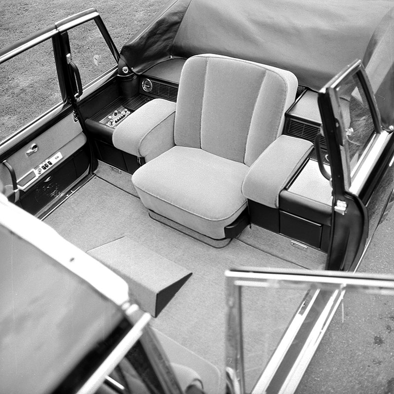 The interior of the Papal vehicle, a Mercedes-Benz type 600, that Pullman Landaulet handed over to Pope Paul VI. Photo courtesy of Mercedes-Benz