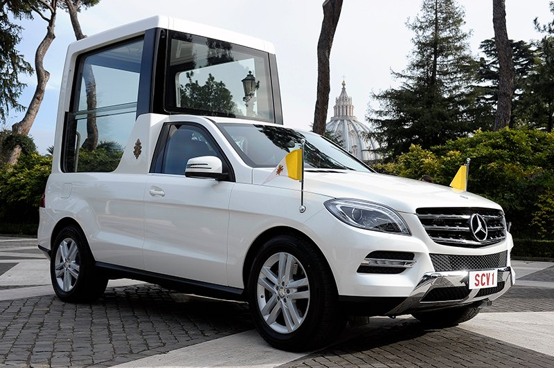 A Mercedes-Benz popemobile, used by Pope Benedict XVI. Photo courtesy of Mercedes-Benz