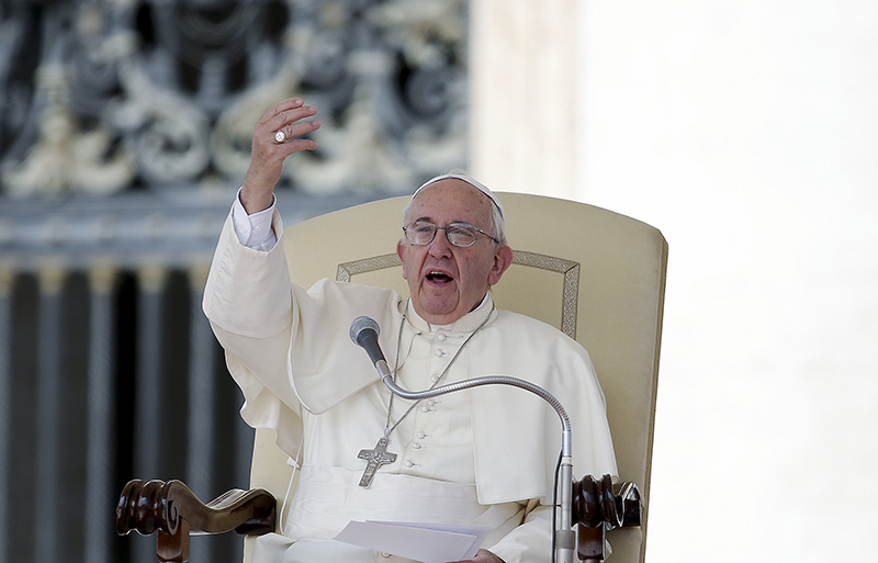 Pope Francis gestures during his Wednesday general audience in Saint Peter's Square at the Vatican, on September 9, 2015. Photo courtesy of REUTERS/Max Rossi *Editors: This photo may only be republished with RNS-POPE-QUOTES, originally transmitted on Sept. 12, 2015.