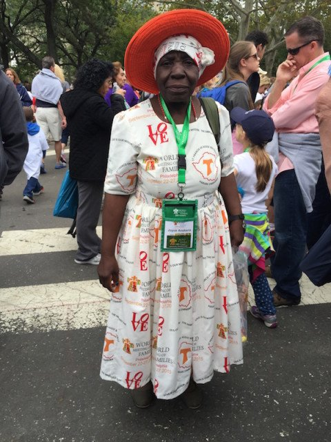 Joyce Anskaria Willis, 69, watched Pope Francis ride by in his popemobile during the public Mass Sunday (Sept. 27) in Philadelphia. She traveled from Zimbabwe to attend the World Meeting of Families that concluded the previous day. Photo courtesy Debra L. Mason