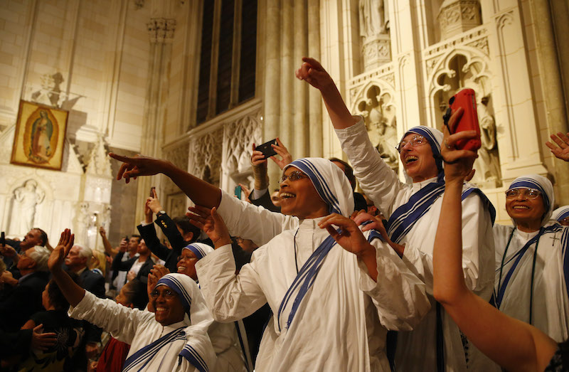 A group of nuns await Pope Francis' celebration of evening prayers at St. Patrick's Cathedral in New York, September 24, 2015. Photo courtesy REUTERS/Tony Gentile