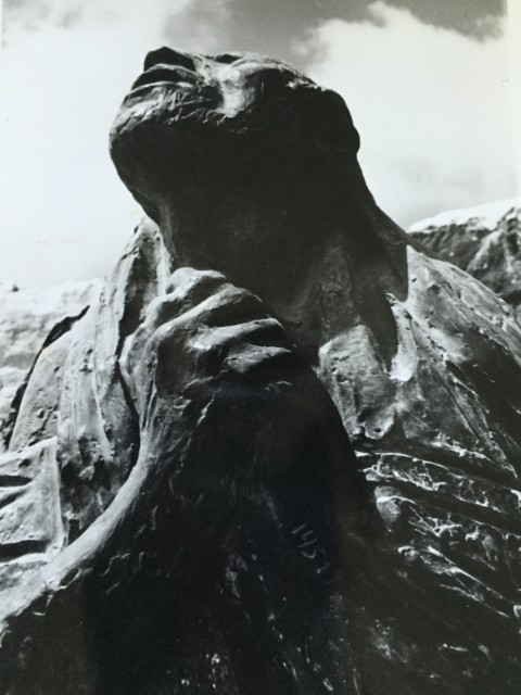 This sculpture, representing a Jewish Holocaust victim in a prayer shawl with concentration camp numbers on his arm, has been displayed at the Yad Vashem in Jerusalem. Photo by Cathy Lynn Grossman