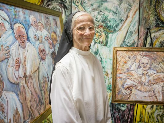 A prolific artist, Sister Mary Grace Thul painted two portraits of Pope Francis. (Photo: Kyle Grantham/The News Journal)