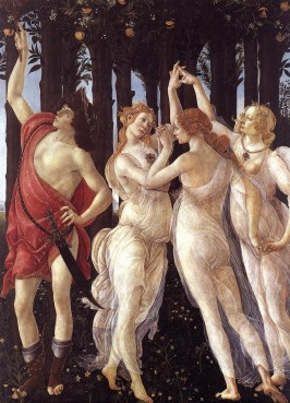 "A detail of the three graces from Botticelli's ""Primavera."""