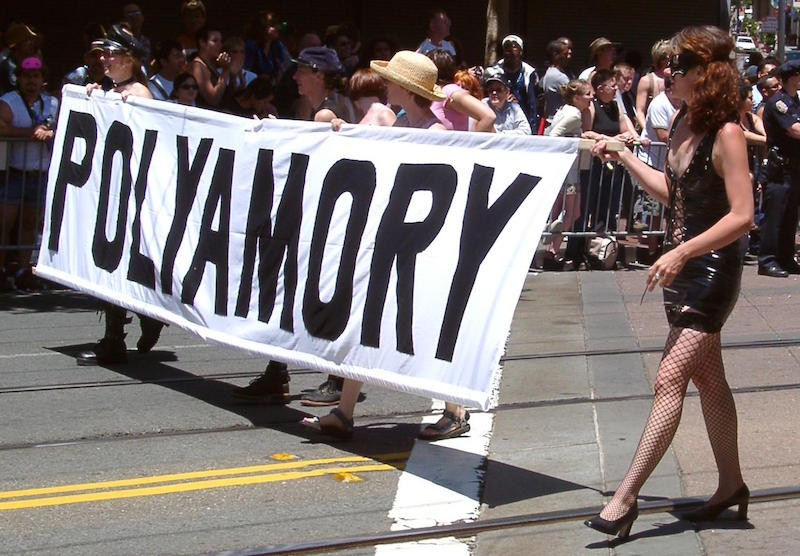 Polyamory supporters march at San Francisco Pride 2004. Courtesy of Wikimedia Commons.