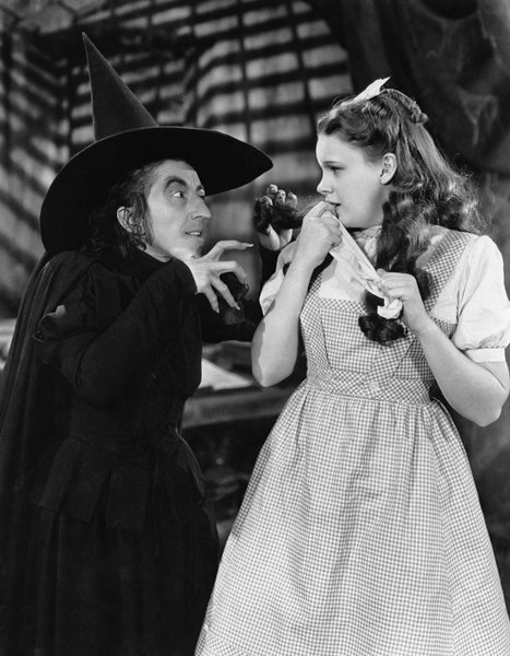 "Margaret Hamilton as the Wicked Witch of the West with Judy Garland as Dorothy in 1939 ""Wizard of Oz."""