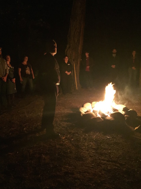 "Stephen McNallen, the founder of Asatru Folk Assembly, leads an outdoor ritual at the opening of what he says is the first ""hof,"" or Viking house of worship, in the U.S. Photo courtesy of Bradley Taylor-Hicks"