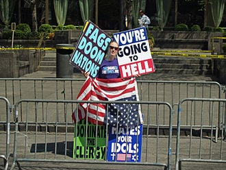 Westboro Baptist Chuch member protesting Pope Benedict XVI outside the United Nations in New York City in 2008.