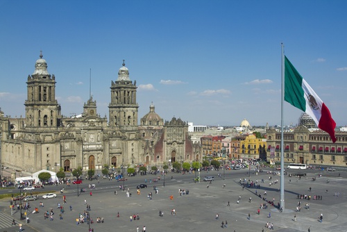 A view of the Cathedral, in the Zocalo, Mexico City.