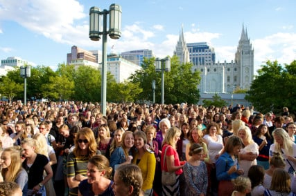 Hundreds of thousands of women, young women and girls 8 years old and older gathered on Saturday, September 26, 2015, for the general women's session of the 185th Semiannual General Conference. The meeting was held in the Conference Center on temple Square in Salt Lake City, Utah and in meetinghouses around the world. Photo courtesy of The Church of Jesus Christ of Latter-day Saints