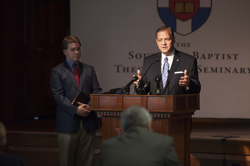 Albert Mohler, president of the Southern Baptist Theological Seminary, speaks with the press on Oct. 5, 2015. Photo by Emil Handke, courtesy of Southern Baptist Theological Seminary