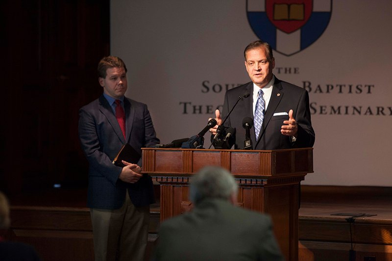 Albert Mohler, president of the Southern Baptist Theological Seminary, speaks with the press on Oct. 5, 2015. Photo by Emil Handke, courtesy of The Southern Baptist Theological Seminary