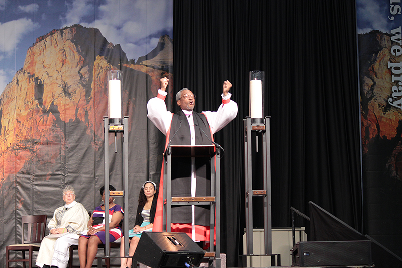 The Rt. Rev. Michael Curry preaching at the 78th General Convention, in July 2015. Photo courtesy of Episcopal Diocese of North Carolina *Editors: This photo may only be republished with RNS-CURRY-QANDA, originally transmitted on Oct. 28, 2015.