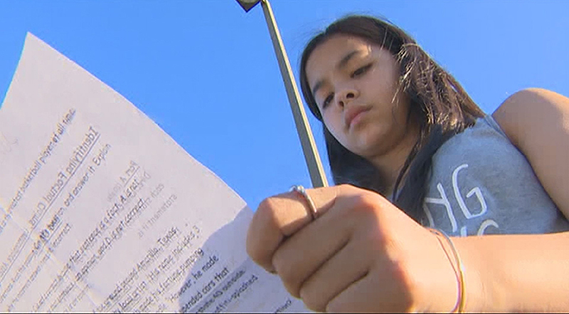 Jordan Wooley, a sevent-grade student in Katy, Texas, said an assignment questioned her faith when her teacher told her God wasn't real. Photo courtesy of KHOU-TV, Houston, via USA Today