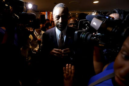 U.S. Republican candidate Dr. Ben Carson talks to reporters after speaking at the National Press Club in Washington, on October 9, 2015. Photo courtesy of REUTERS/Jonathan Ernst *Editors: This photo may only be republished with RNS-GROSSMAN-COMMENTARY, originally transmitted on Oct. 12, 2015.