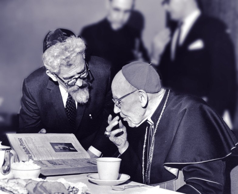 Rabbi Abraham Joshua Heschel meeting in New York with Cardinal Augustin Bea, who shepherded the process of Catholic introspection that led to