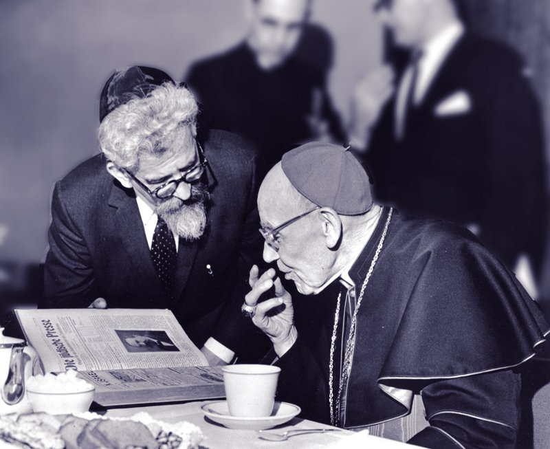 Rabbi Abraham Joshua Heschel meeting in New York with Cardinal Augustine Bea, who shepherded the process of Catholic introspection that led to Nostra Aetate, on March 31, 1963. Photo courtesy of American Jewish Committee